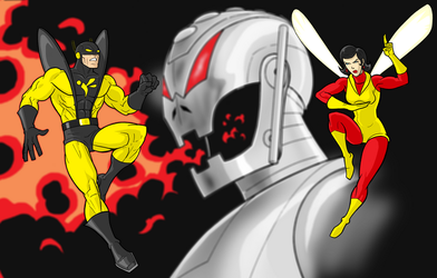 Yellow Jacket-Ultron-Wasp by Thuddleston