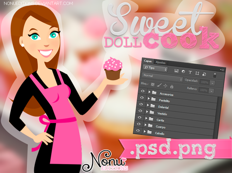 Sweet Cook Doll (.PSD/.PNG) by Nonuu