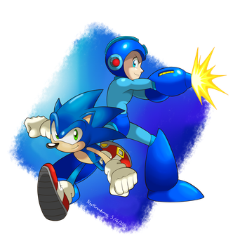 Sonic and Megaman by NextGrandcross