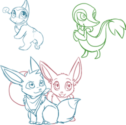 Pokemon stream doodles by PhantomCat