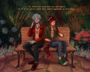 Two Bros Chilling In The Garden Cuz They're Gay by Cannelle-Lapin