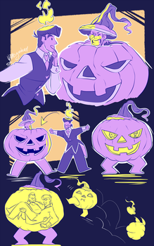 Candle And Pumpkin by YAMsgarden