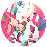 Mew and Newtwo by Mi-eau