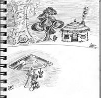 Rodinchee and mushroom trees. by RossAnime