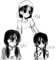 Chichi, Videl, and Pan by Burbs-chan