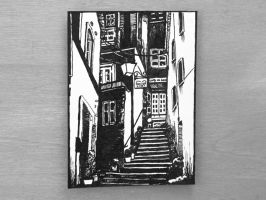 Urban Landscape Ink Drawing Artist Trading Card by OneUrbanTribe