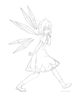 Cirno lineart by winterwolf38