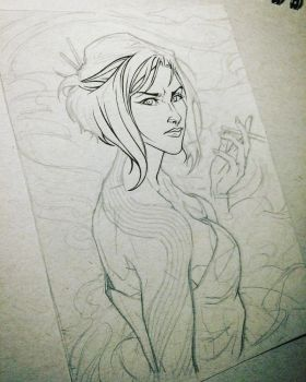 Tonal Paper Character Concept Sketch (wip) by animaddict