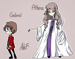 -Art Trade- Gabriel and Athena by MoonlightWolf17