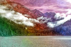 PREMADE BACKGROUND - RAINBOW MOUNTAINS by KerensaW