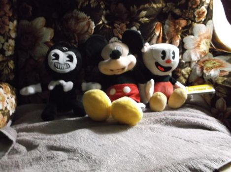 Bendy Mickey Mouse Cuphead plushies by godofwarlover