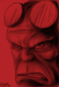 Hellboy-Face by renatothally