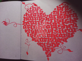 Hearts Calligraphy Calligram (4/4)