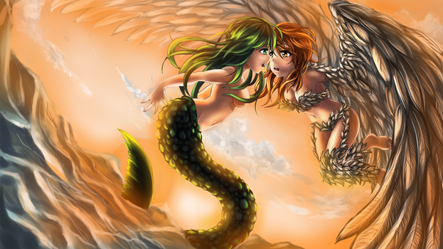 Mermaid and Harpy by DrakeTurtle