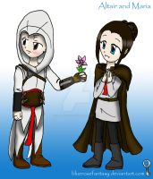 assassin's creed: Altair and Maria (kodomo style) by bluerosefantasy