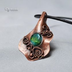 Wire wrapped solid copper sheet pendant by artual