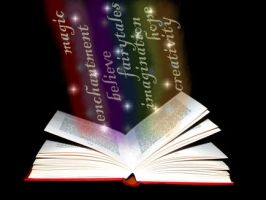 Rainbow book with words sm by moonduster