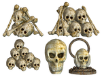 Spooky Skulls PNG Stock 03 by Roy3D