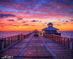 Juno-Beach-Pier-Sunrise-with-Crescent-Moon by CaptainKimo