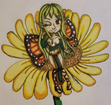 Chibi Fairy on a Flower by BritxBrit