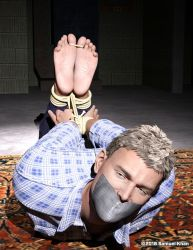 Hogtied and Toetied Self-Portrait by SamuelKhan