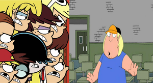 Loud Sisters looking angry at Chris Griffin by MarcosPower1996
