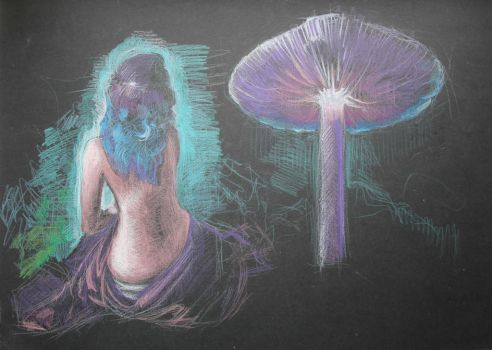 Purple Haired Girl and Big Mushroom WIP by Joshua-Mozes