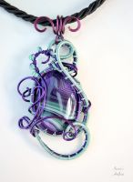 Purple and light green Agate wire wrapped pendant by IanirasArtifacts