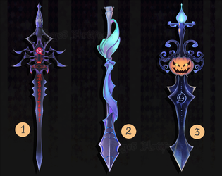 Adoptable Weapon Halloween swords set 1 CLOSED by Forged-Artifacts