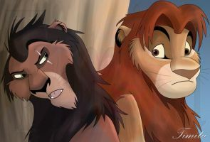 Mufasa and Scar by Timitu