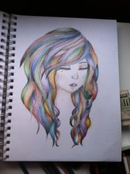 Rainbow hair fun sketch by dolugecat