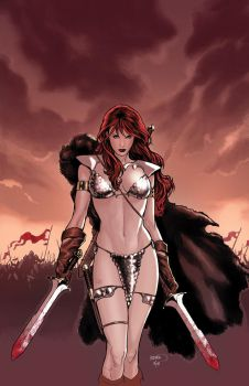 Red Sonja 45 cover by PaulRenaud