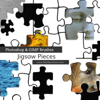 Jigsaw Puzzle Piece Photoshop and GIMP Brushes by redheadstock
