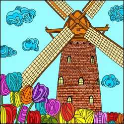 Windmill With Tulips. by catdragon4