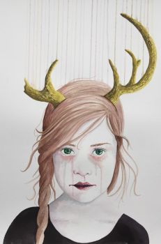 Girl with Antlers II (Watercolor) by LordColinOneal