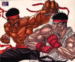 Black Dynamite Vs. Ryu by RonAckins