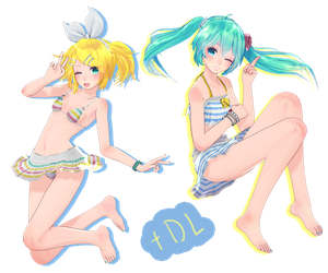 TDA Miku and Rin Hot Summer + DL! by BrausShows
