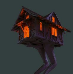 Baba Yaga's cottage on a chicken leg WIP by ikkiz