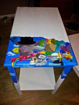Hostile painting on table by Ornorm