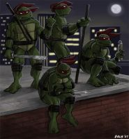 Turtles on Rooftop - color by Kobb