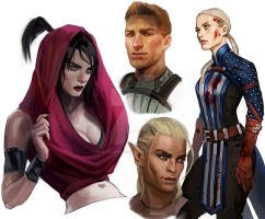 Dragon Age Sketches by CrystalGrazianoArt