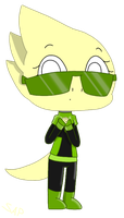 Alphys as the green sheild (Request) by Starlightarcticpaws