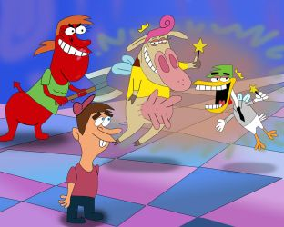 The Fairly OddParents in the Cow and Chicken style by AndrewSS23