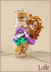 Fimo Siren with a bottle by LolleBijoux