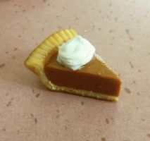 polymer clay pumpkin pie charm by ScrumptiousDoodle