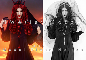 The Goddess of Darkness - before and after by Wesley-Souza