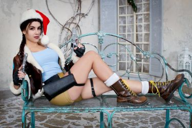 Christmas Lara Croft cosplay - on the bench by TanyaCroft