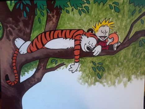 Calvin and Hobbs taking a break from fun by Frankenpoo