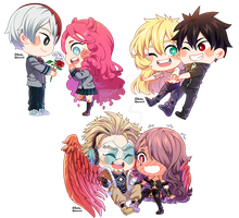 : SimpleChibiComm Batch of OCs: BNHA and Senyuu : by bakawomans