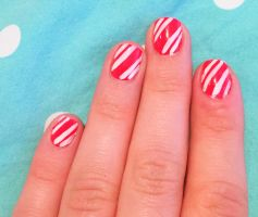 Candy Cane Nails for Christmas by AnonymousRabbitLover
